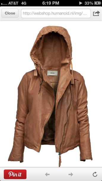 jacket leather hoodie brown coat