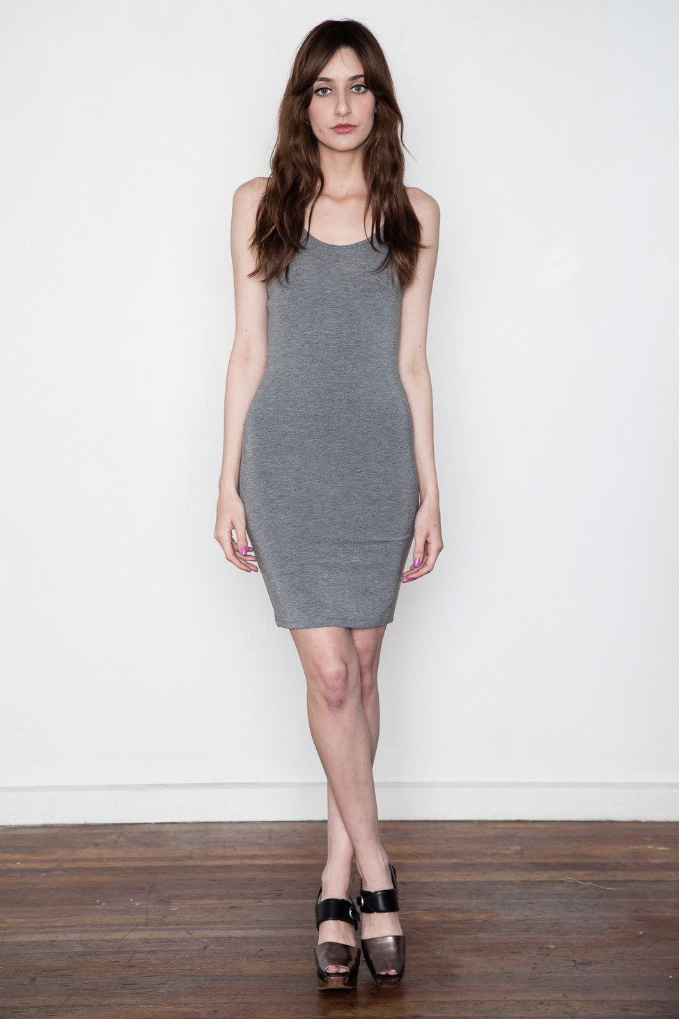 T by Alexander Wang Women's - Heather Grey Modal Spandex Cami Tank Dress