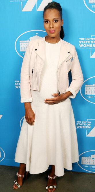 dress midi dress sandals maternity dress jacket kerry washington white dress olivia pope
