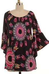 top,black,tribal pattern,geo,fuchsia,magenta,tunic,bell sleeves