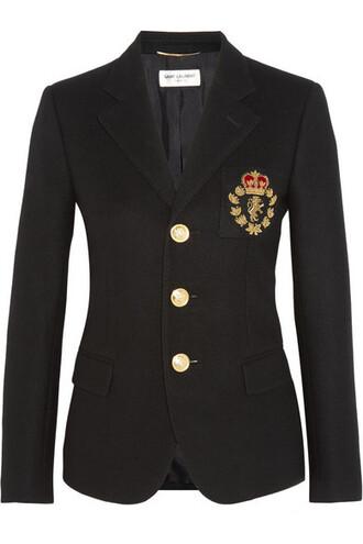 blazer embellished black wool jacket