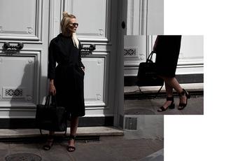 she wears black blogger shoes dress coat black coat sandals mid heel sandals handbag black bag spring outfits