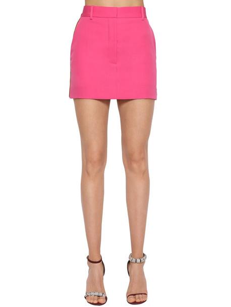 CALVIN KLEIN 205W39NYC Side Band Wool Gabardine Mini Skirt in pink