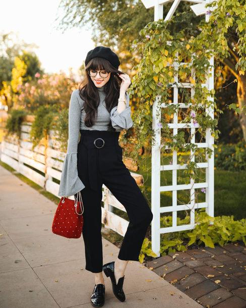 hat tumblr beret pants black pants top grey top bell sleeves bag red bag shoes black loafers loafers