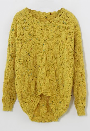 Candy Dots Knit Sweater with Scrolled Neckline in Mustard - Retro, Indie and Unique Fashion