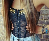 top,studded top,corset top,studs,navy,lace top,lace cami