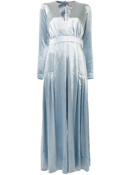 Temperley London jumpsuit women spandex blue silk