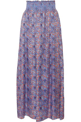 skirt maxi skirt maxi silk blue