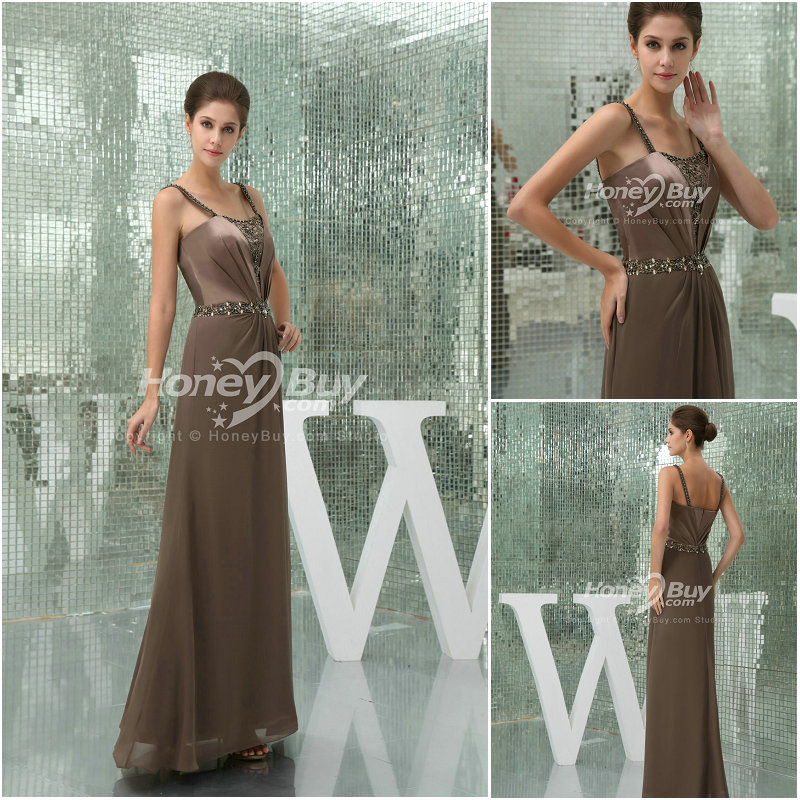 Beaded Straps Chiffon Bronze Wedding Party Dress