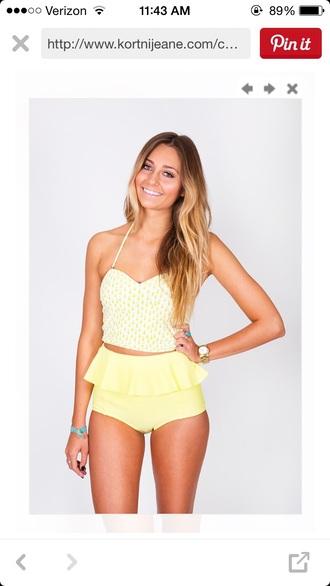 swimwear high waisted swimwear yellow swimwear pinapples