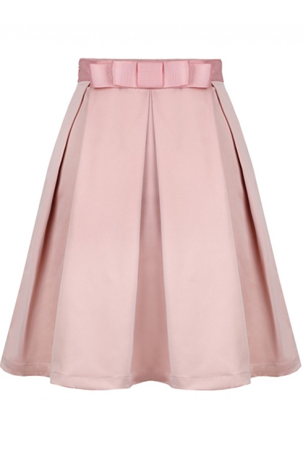 Kcloth light pink bow pleated skirt