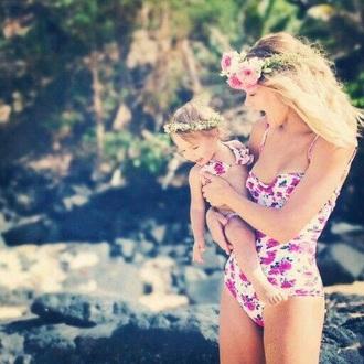 swimwear pink chic fashion style mother and child