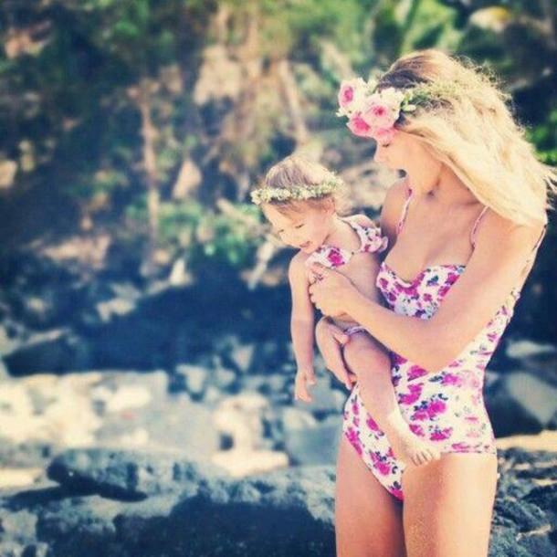 swimwear pink chic fashion style mother and child