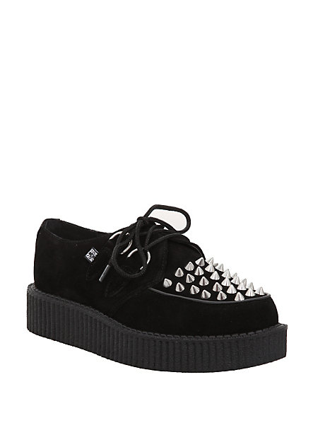 T.U.K. Black Suede Stud Creepers | Hot Topic