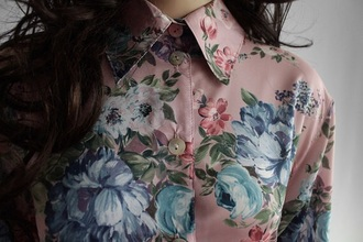 blouse flowers vintage pink blouse roses retro hipster shirt pink indie cute pink shirt floral