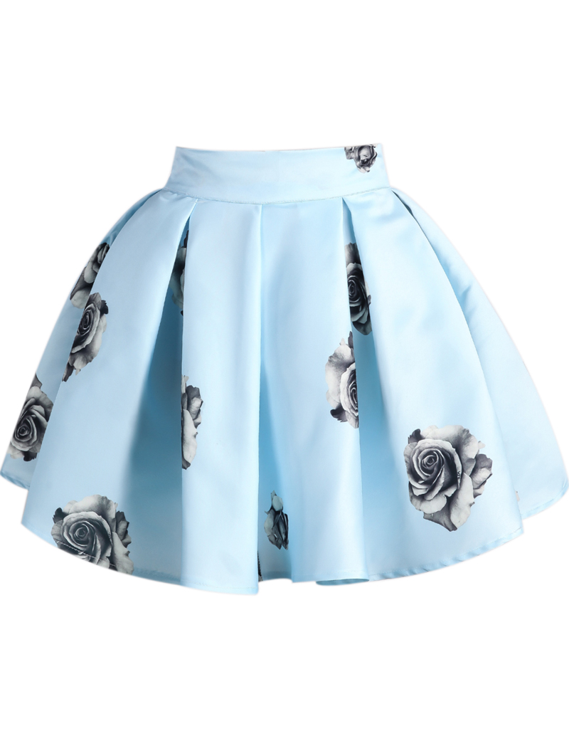 Blue Rose Print Flare Skirt - Sheinside.com