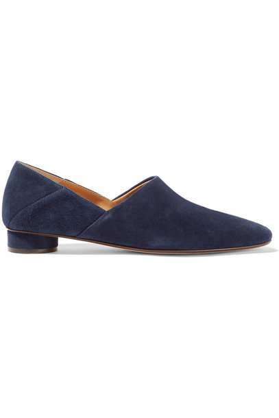 The Row Noelle Suede Loafers in navy