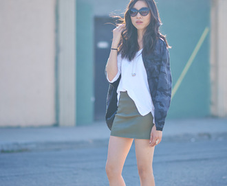 dance in my closet blogger jacket white top camouflage mini skirt