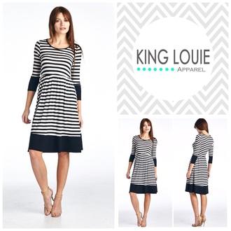 dress striped dress style midi skirt black dress fashion cotton