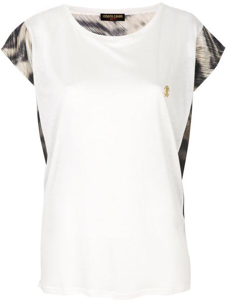 Roberto Cavalli t-shirt shirt t-shirt loose women fit white silk top