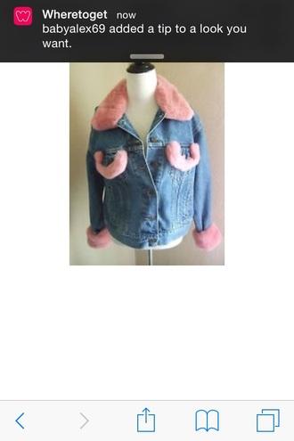 coat pink fur jean jacket