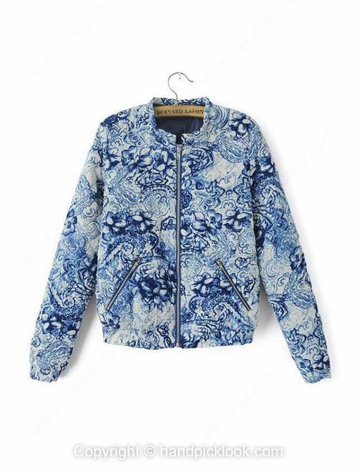 Green Long Sleeve Flowers Print Zip Coat - HandpickLook.com