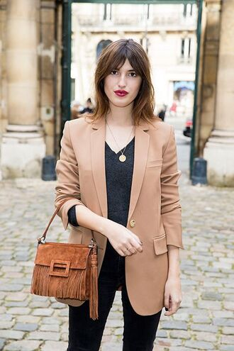 jacket jeanne damas fashionista blazer camel blazer black sweater v neck bag brown bag jeans black jeans fall outfits
