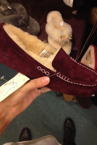 shoes moccasins burgundy fur