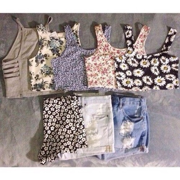 shorts tank top pattern floral t-shirt high waisted shorts shirt