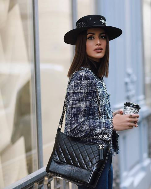 bdf7ee30c22c bag black bag chanel gabrielle hobo bag chanel bag jacket felt hat hat  accessories Accessory