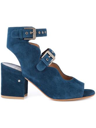 women sandals leather blue suede shoes