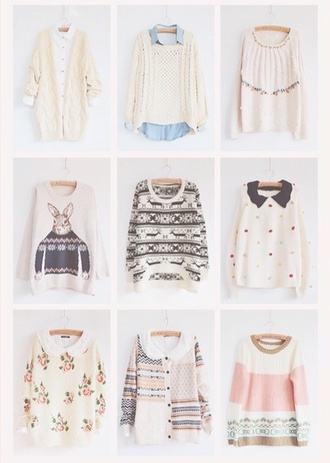 sweater pastel pink white blue bunny roses black