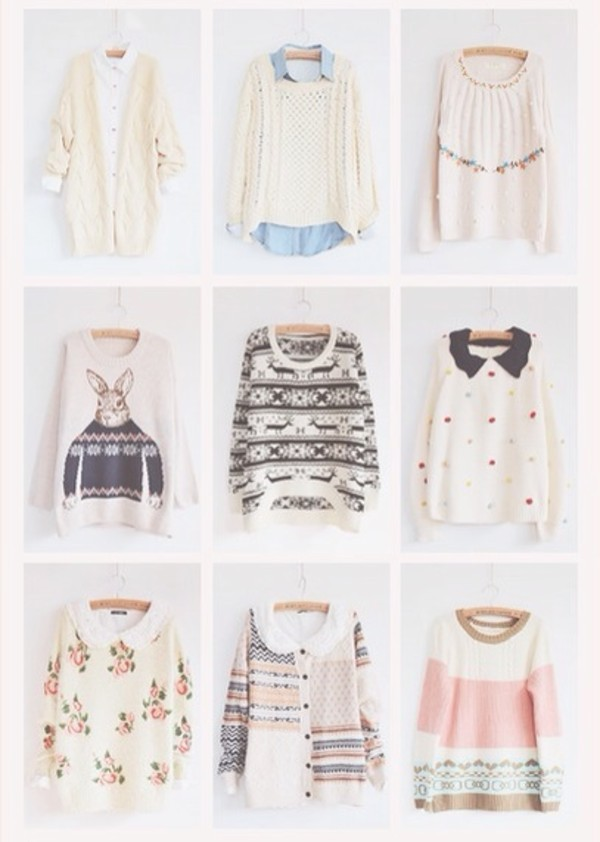 sweater sweater cute shirt shirt blouse blouse pretty girly pink winter outfits girl fuzzy sweater winter sweater winter sweater cozy cozy sweater oversized sweater bunny bunny flowers deers hipster style warm pastel white blue roses black sweater shirts