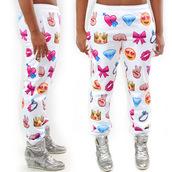 joggers,sweatpants,emoji print,colorful,sweats,emoticons,top,pants