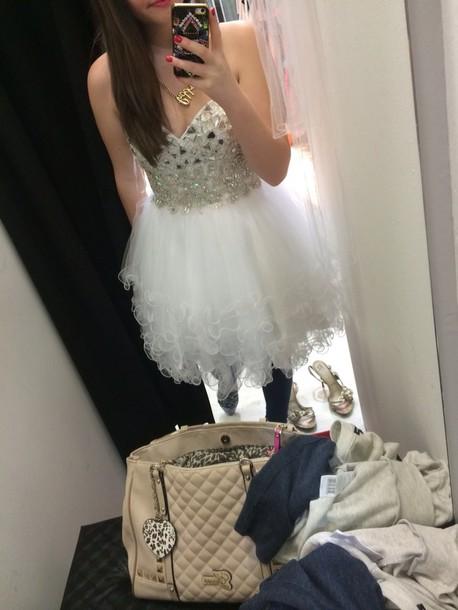 dress dress white diamonds fluffy