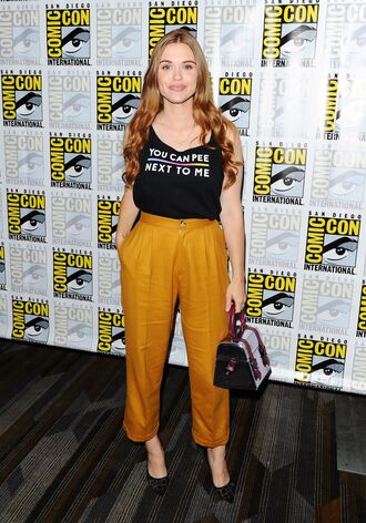 pants holland roden high waisted top bag heels high heels high waisted pants comic con