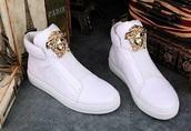 shoes,versace,medusa,versace sneakers,high top sneakers,white sneakers
