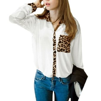 Amazon.com: Allegra K Ladies Long Sleeves Leopard Prints Autumn Casual Blouse: Clothing