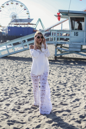 ohh couture blogger sunglasses jewels white pants see through white lace white top off the shoulder