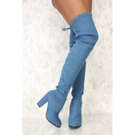 Sexy Dark Blue Denim Round Pointy Toe Thigh High Boots Single Sole Chunky High Heel