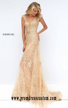 Beaded Sherri Hill 50176 Lace Appliques 2016 V Neck Nudegold Long