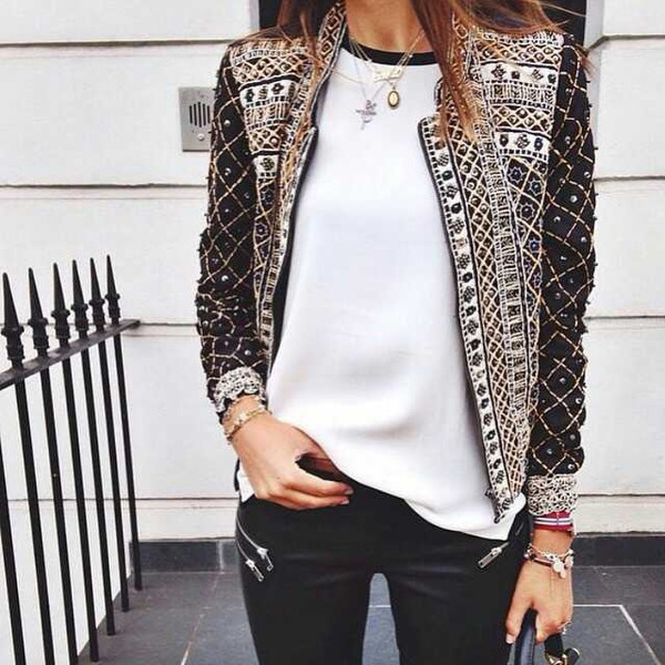 jacket coat black and white cute black gold vintage blouse balmain embroidered beaded embroidered jacket pretty trendy edgy embellished embellished jacket white top necklace fall jacket gemstone pendant boho jacket top brown mathu design fashion clothes sequins amazing love lovely wish beautiful girl girlish girly girly wishlist white bejewelled bejewelled jacket black jacket white blouse leather pants zipped pants black leather pants blazer women blazer elegant blazer elegant jacket