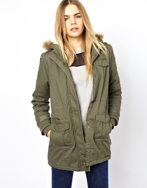 Bellfield | Bellfield Jacket With Faux Fur Trim Zip-Through Hood at ASOS