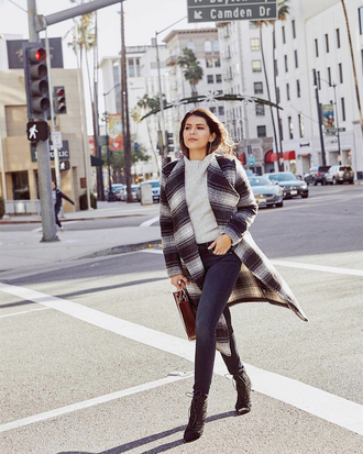 coat tumblr plaid black and white printed coat top white top denim jeans blue jeans boots black boots