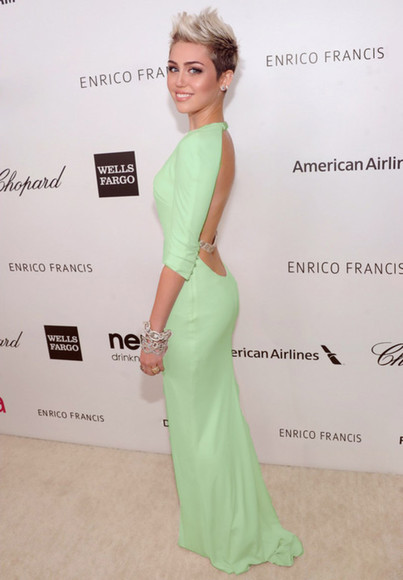 dress open back miley cyrus green dress long dress mint green