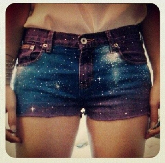 shorts galaxy high waisted shorts galaxy print teens outfit