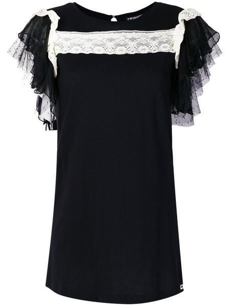 Twin-Set blouse women pearl cotton black silk top