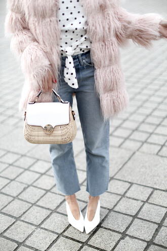 b a r t a b a c blogger coat top jeans bag shoes sunglasses jewels faux fur coat fuzzy coat