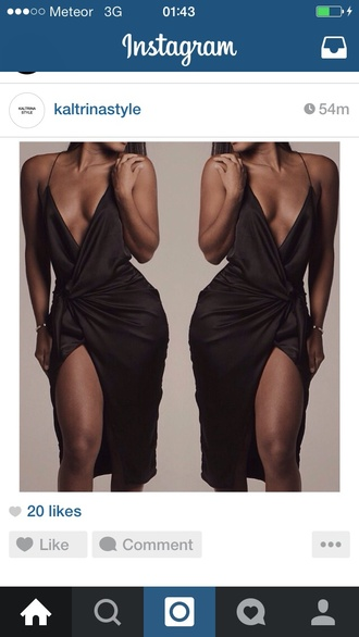 dress slit silk black knot satin dress kardashians sexy dress curvy