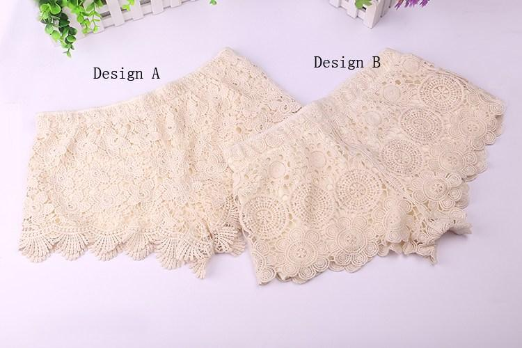 2014 new short loose elastic waist beige,white,black shorts for ladies,100% cotton hollow outembroidery floral lace shorts vintage free size, $6.28